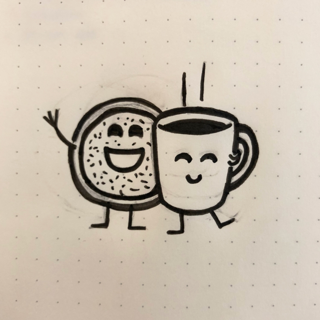 smiling mug and donut initial sketch