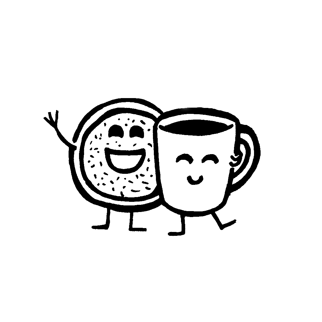 smiling mug and donut ink drawing