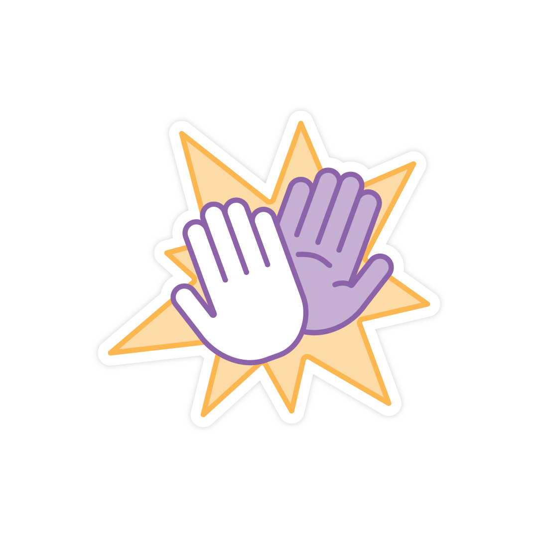 creativemornings sticker of high-fiving hands