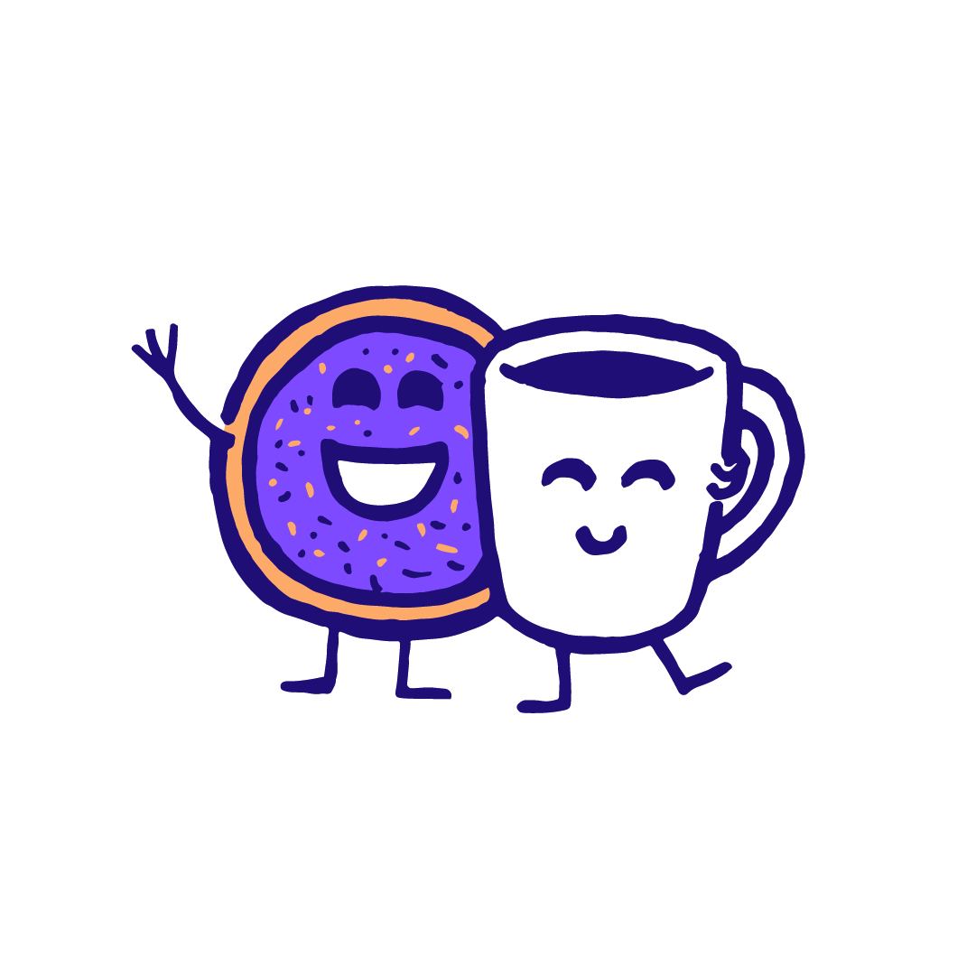 smiling mug and donut characters with their arms around each other